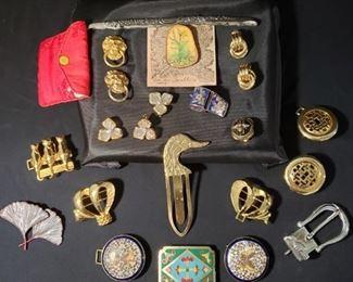 Vintage Buckles, Pins Earrings Mystery Lot