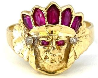 Great Vintage 14K Yellow Gold Diamond Native American Chief Head Ring Size 11 4.3 g