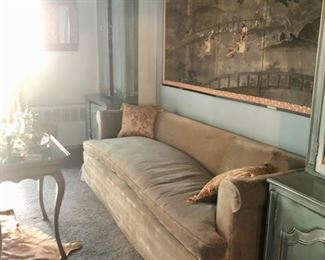 Vintage velvet sofa & hand painted Chinese silk  panel / screen