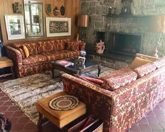 Frozen in time! Pair vintage sofas, benches, lighting & rug