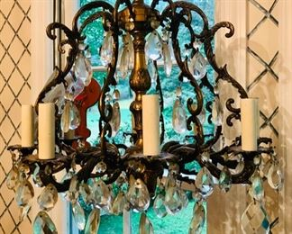 Antique brass crystal chandelier 1900 from Spain