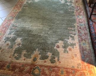 """Vintage Tufenkian Hand-knotted Tibetan wool rug 5""""6' x 8""""6' with tag and label  cleaned and finished in Switzerland  Vintage Antiqua French wool rug 62x86' and label"""