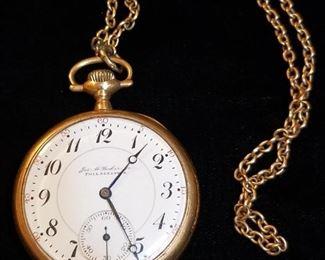 14k Gold Jos M Parker Jr Pocket Watch