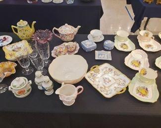 Wedgewood, vintage glassware, etc.