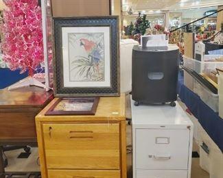 Oak filing cabinet - metal one too!