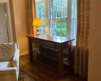 Solid oak console/library table