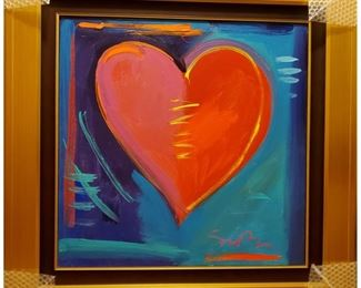 """On Sale Now 50% off - $2,100!!!  ACCEPTING OFFERS VIA TEXT ON THIS ITEM 225.287.1309                     Simon Bull, """"Love is in the Air IV"""" Acrylic on canvas, height 23"""" x width 23.t"""", signed lower right. Well framed. Frame size: Height 33 1/2 inches x width 33 1/2 inches. A unique work from collection of the artist. Year: 2008.  Appraisal 8/2016: $6,500 (appraisal will be supplied with sale).      Purchase online at https://FecitAntiquesAndEstates.net/shop.  Located in Acrylics."""