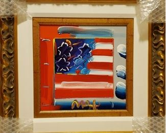 """On Sale Now  - 50% off - $5,500.     ACCEPTING OFFERS VIA TEXT ON THIS ITEM 225.287.1309                                          Peter Max """"Flag w/Heart XXIII, #83"""", Acrylic on canvas, height 10"""" x width 10"""", signed lower right. Well framed. Frame size: Height 19 5/8 inches x width 19 5/8 inches. Year: 2007, signed in pigment lower right. Unique work from the collection of the artist. Appraisal 4/2016: $16,500 (appraisal will be supplied with sale).  This piece will only continue to appreciate.   Purchase online at https://FecitAntiquesAndEstates.net/shop.  Located in Acrylics."""
