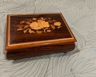 On Sale Now 50% off - $62.50.  ACCEPTING OFFERS VIA TEXT ON THIS ITEM 225.287.1309             Collectible Wooden Music Box by Cuendet.  Purchase online at https://FecitAntiquesAndEstates.net/shop.  Located in Collectibles.