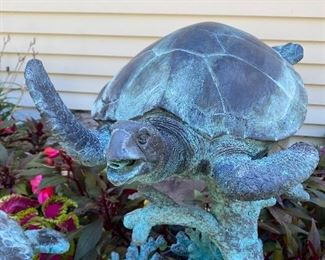 LEONARDO ROSSI BRONZE SEA TURTLE SCULPTURE/FOUNTAIN