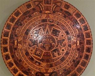 HANDMADE AZTEC  CALENDAR USING TROPICAL FINE WOODS