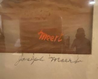 Joseph Meert,  Born Brussels, Belgium, 1905; died Waterbury, CT, 1990. an abstract expressionist and friend of Jackson Pollock actually saved Pollock's life one night. On a sub-zero winter night of 1943 or 1944, Pollock came to visit Meert at his apartment, however Pollock had passed out drunk in a snowdrift and would have frozen to death had it not been for Meert.  In the 1920s, he was a resident of Kansas City, Kansas living at 1014 Tenny Street and taught at the Kansas City Art Institute from 1935 - 1941. Despite his extensive exhibition record, Meert never found financial success. In 1980, after the death of his wife, his medical and mental condition began to deteriorate, but he was misdiagnosed with schizophrenia and became a ward of a state nursing home. In 1985, the Pollock-Krasner Foundation awarded a grant to have him transferred to a better facility in Cheshire, CT, where he received art therapy treatment and benefited from this until his death in 1990.