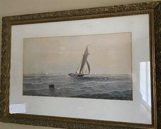 GEO E. ESSIG (NJ ARTIST 1838-1926)                                   George Emerick Essig was born in Philadelphia and reputedly studied with the marine painters James Hamilton (1819-1878) and Edward Moran (1829-1901).  He also became a specialist in marine scenes and often painted scenes of the New Jersey coast.  Essig exhibited at the Pennsylvania Academy of the Fine Arts from 1876 to 1888.  He moved to Atlantic City, possibly around 1880, and practiced dentistry in Ventnor.  Paintings by him once hung in the Dennis Hotel and Chalfont-Haddon Hall in Atlantic City.  Essig's primary medium was watercolor, but in the late 1880s and early '90s he made etchings that were usually based on the subjects of his paintings.  Some sources give his death date as 1919, but more recent information states that he was still living in Atlantic City in 1925.  A large number of Essig's works are owned by the Reading Public Museum and Art Gallery in Reading, Pennsylvania.  Notes: 1. See Peter Falk's Who