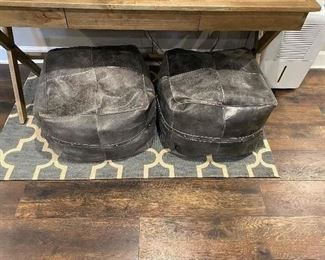 Leather cube ottomans