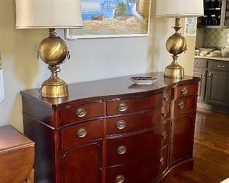 Serpentine front mahogany buffet by Drexel