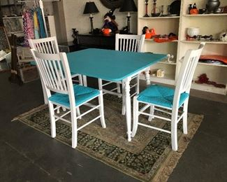 Turquoise drop leaf dining table with 4 chairs