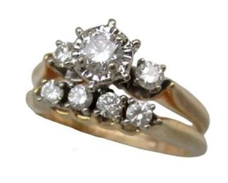 Lot 001 14K Yellow Gold Diamond Ring ~ 1/2TCW ~ Soldered Wedding & Engagement Bands