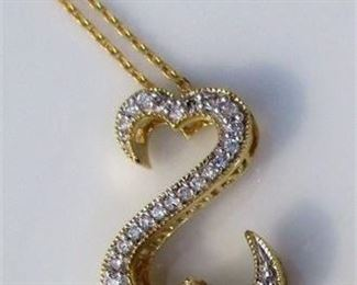 Lot 002 14K Yellow Gold & Diamond JANE SEYMOUR Open Heart Pendant Necklace