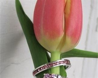 Lot 008 2 Sterling Silver 925 Rings ~ Pretty In Pink! Heart-Shaped Stone & Eternity Band