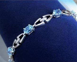 Lot 012 925 Sterling Silver ALWAND VAHAN AV Aquamarine Tennis Bracelet