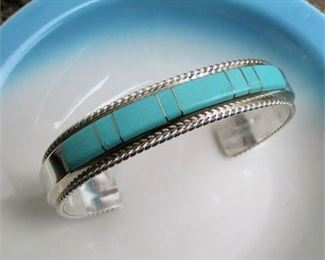 Lot 021 Sterling Silver Turquoise Cuff Bracelet