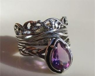 Lot 029 925 PZ Israel ~ PAZ Collection ~ Purple Teardrop Wide Band Ring Sz 8.5