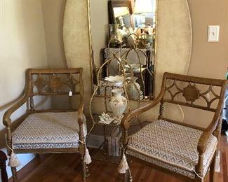 Large Beautiful Mirror/ Sugar Beach Interiors Maitland-Smith Etagere  Pr. Emerson Et Cie Chairs/also Sugar Beach Interiors Several Pieces of Lenox