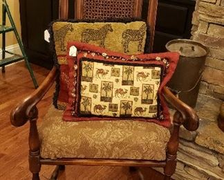 cane back chair with arm rest
