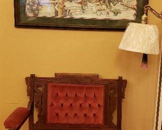 Victorian settee, framed print DINOUSAR PARADE, floor lamp