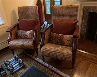 Pair of Rattan Chairs w/ Wood Frame