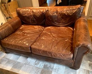 Restoration Hardware Leather Loveseat