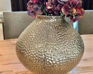 "$75 each - Arhaus ceramic gunmetal gray with brown tones dimpled vase #1   Three available. 12.5""H x 12.5""W"