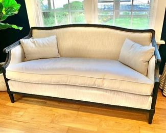 "$995 - Restoration Hardware Ondine Salon bench with cushion cream upholstery and black wood frame with two corner pillows. 32""H x 63""W x 28""D (seat height 19.5""H)"