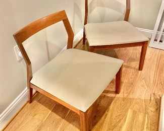 "$1,500 for pair of Knoll Studio 2011 open back wood frame with leather seat chairs.  Two available. 27""H x 23.5""D x 23""W (seat height 15""H) ONE CHAIR AS IS- HAS TEAR ON CORNER OF  LEFT FRONT OF SEAT."