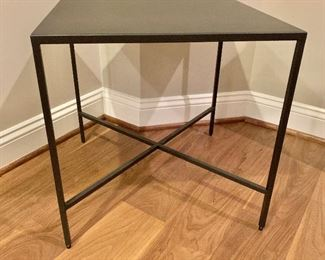 "$125 - Black metal square side table.  20.5""H x 20""W x 20""D"
