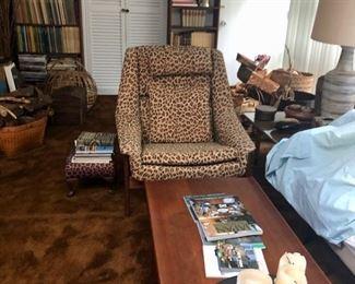Leopard Dux chair & MCM Coffee table