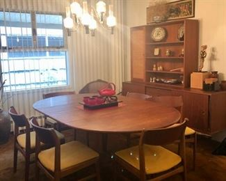 Dux Teak MCM Dining table, chairs, credenza, cabinet