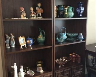 Bookshelves filled with Fenton Glass, Hummels, and more!