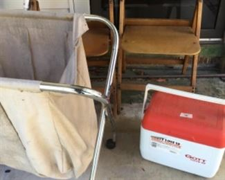 Folding Chairs, laundry catcher, ice chest