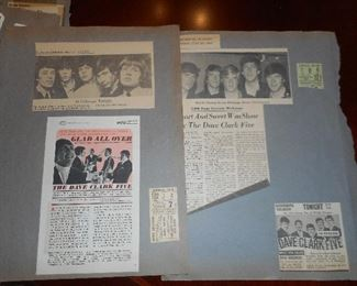 Scrapbook Pages with Dave Clark Five Concert Memorabilia