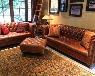Arhaus Chesterfield Tufted Leather Sofa, Love Seat & Ottoman, Oriental Carpet / Rug