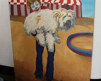 """#6. $200.00. Painting clown holding shaggy dog signed N. Rapp 30"""" X 24"""""""