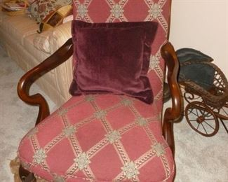Vintage high back arm chair