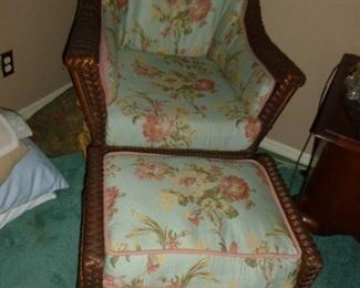 Quality Wicker Chair & Ottoman