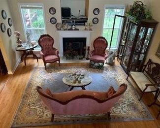 "Elegant Victorian Sofa, Ladies/Gentleman's Chairs, Marble Top Tables... ""Kimball brand furniture, Mahogany Wood, Excellent Condition... Area Rugs, Oval Marble Top Table, etc..."
