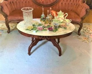Ornate Rose Carved Coffee Table with Marble Top.  Years & Years of collections, Music Boxes, Rose Collection, Bell Collection, Hand-painted small animals..GREAT Gift Items for the Holidays...  CLEAN, CLEAN, CLEAN. HOME... A MUST SEEE, MARK YOUR CALENDAR....