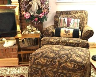 Paisley upholstered Arm chair and ottoman