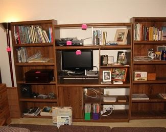 Book Cases, Entertainment Center, Small Flat Screen TV