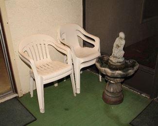 Plastic Patio Chairs, Fountain (Needs new Pump)