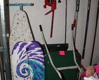 Ironing Board, Wheelbarrow, Boogie Board, Yard Tools
